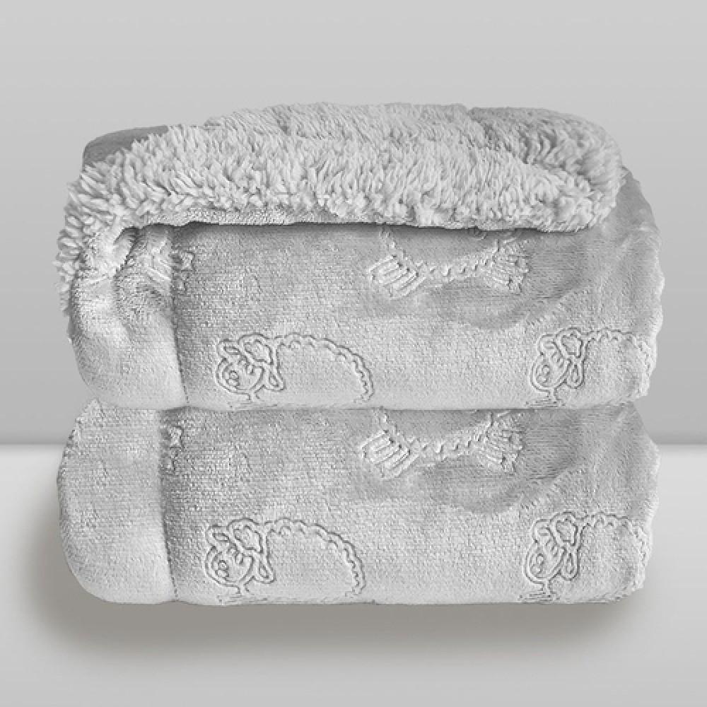 Cobertor Sherpam Ferrete Laço Bebê 090X1,10