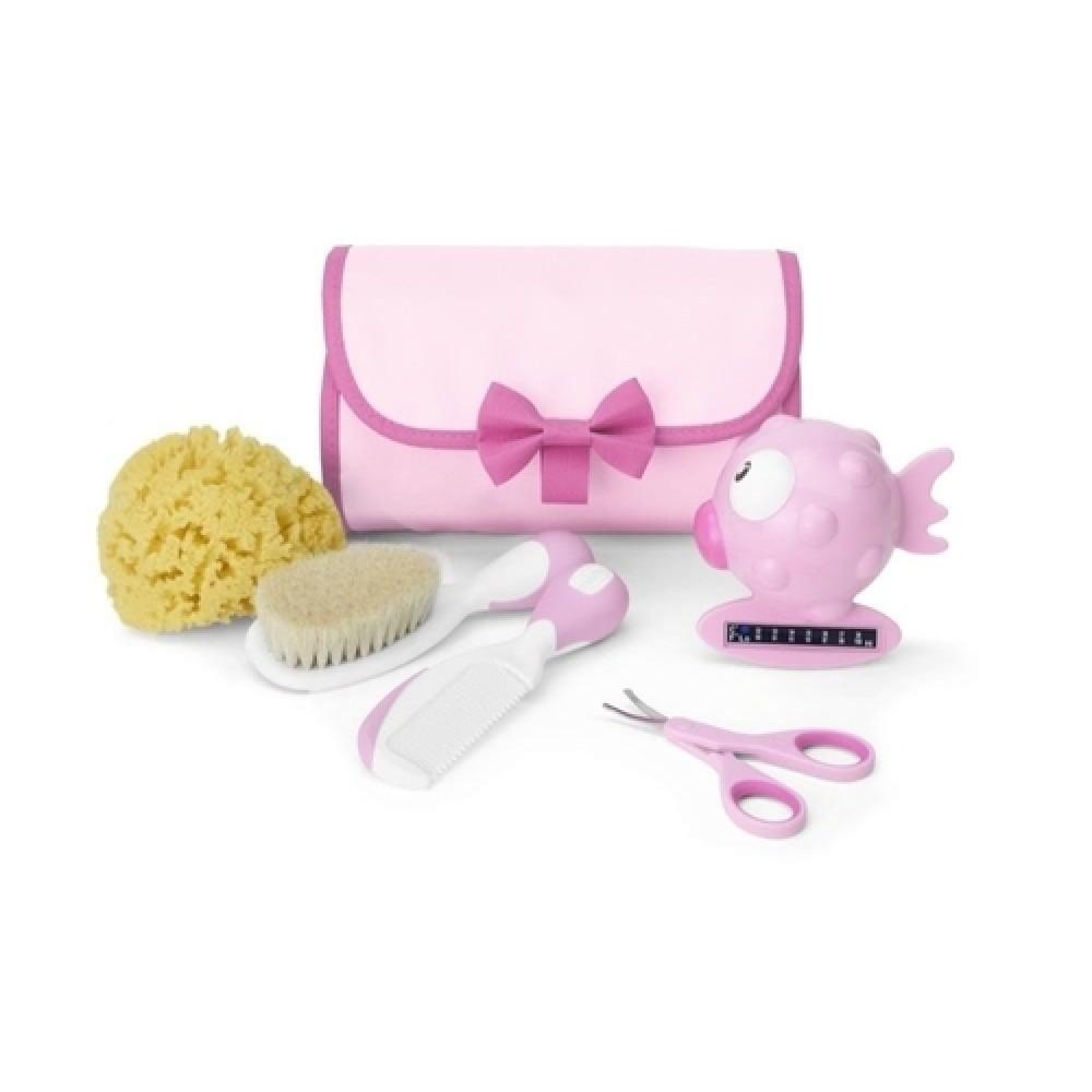 Kit de Higiene Primeiros Cuidados Bebê Rosa Chicco 0m REF: 59340