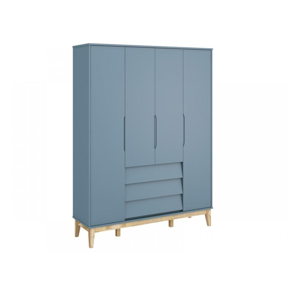 Roupeiro Noah Classic 4 Portas Base Azul Fosco Reller REF: 21039/40095
