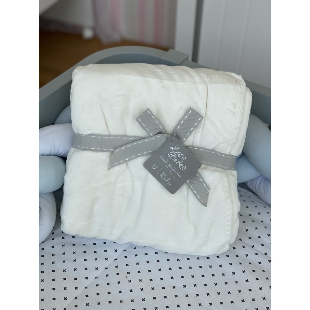Cobertor Sherpam Liso Laço Bebê 90x110