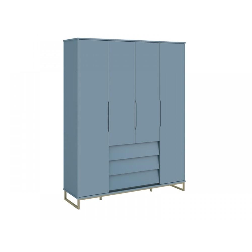 Roupeiro Noah Ind Metálico 4 Portas Azul Fosco Reller REF: 21039/40049