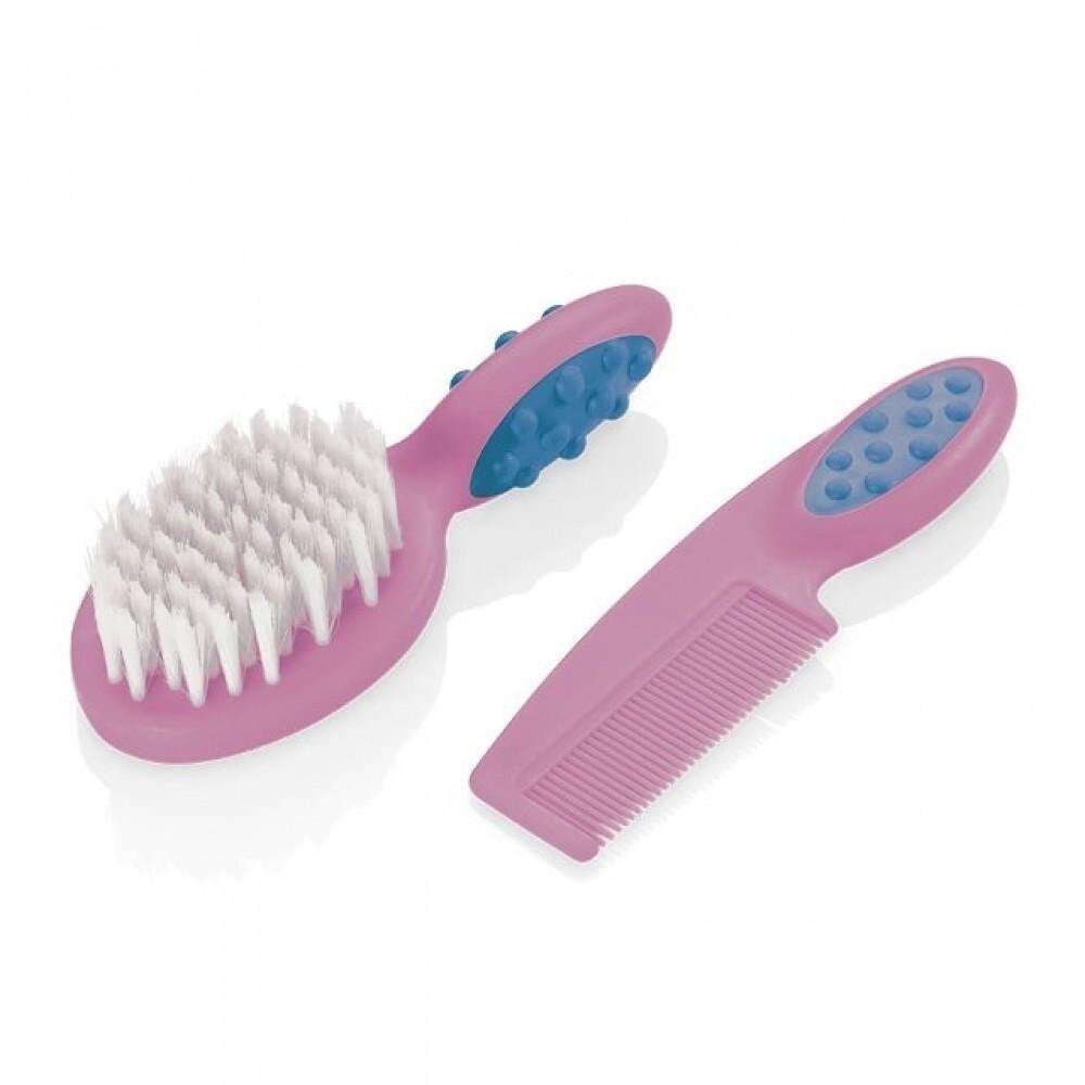 Pente E Escova Para Cabelo Soft Touch Rosa Multikids Baby -  REF: BB207