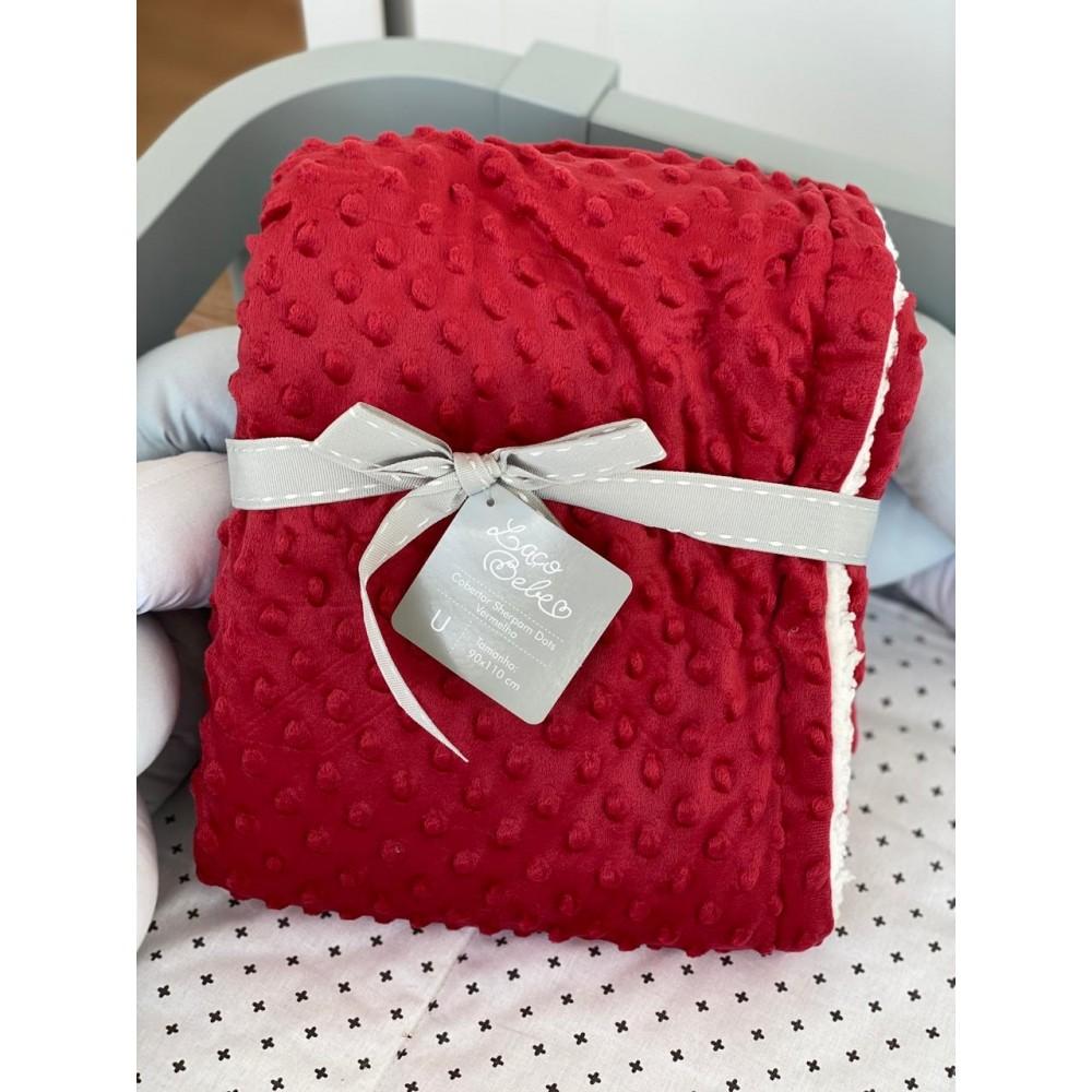 Cobertor Sherpam Dots Laço Bebê 90x110